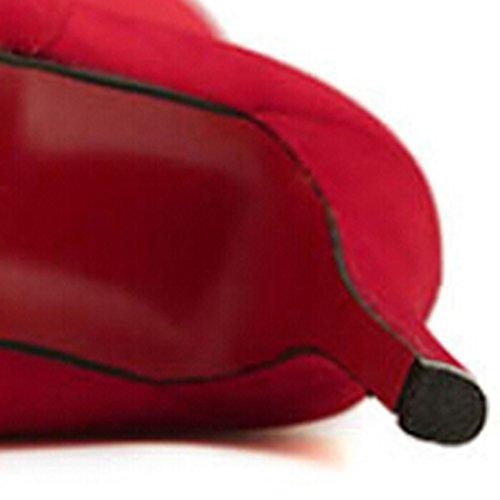 Oasap Damen Elegante Einfarbige Mit Knopfe Hohe Absätzen Stiefeln Red