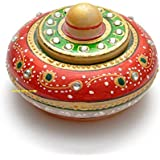 Gaura Art & Crafts Meena Work, Hand Painted, Marble Made Kumkum Box, Sindoor Dibbi , Sindoor Dani, Pill Box For Gifts For Sister Or Wife , Wedding Gifts , Anniversary Gift, Birthday Gifts, ( Size : 7.65 Cm X 7.65 Cm X 5.1 Cm, Color : Multi )