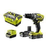 RYOBI Perceuse 18 V - 2 batteries lithium + 2,0 Ah et chargeur - 2 vitesses - Mandrin 13 mm - Livrée en boîte a outils