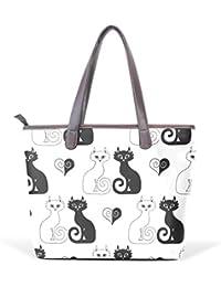 f2b4662498731 COOSUN Katzen und Herz-große Taschen-PU-Leder-Handgriff-Schulter-Beutel- Taschen-Tasche M (40x29x9)…