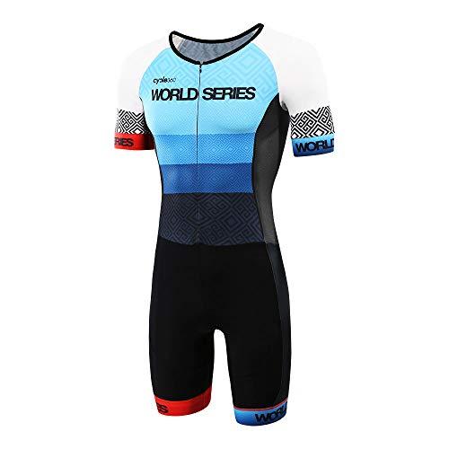 Cycle360 Competition One Piece (tritraje) - FETRI Short Sleeve - Blue Aztek Triathlon Model- Size L