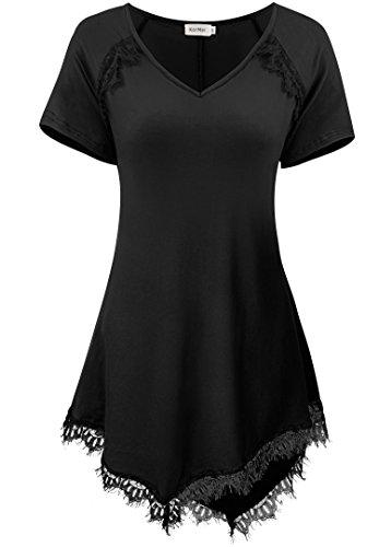 KorMei - T-Shirt - Tunique - Manches Courtes - Femme Noir