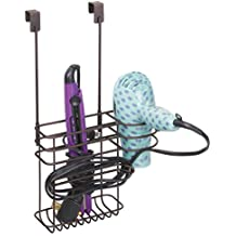 mDesign Soporte para secador - Cesta colgante, sin taladrar - Organizador para baño de productos de peluqueria – Elegante soporte para plancha, rizador o secador de pelo, en acero inoxidable