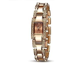 TIME100 Fashion Diamond Skeleton Brown Square Dial Bracelet Ladies Watch #W50159L.03A