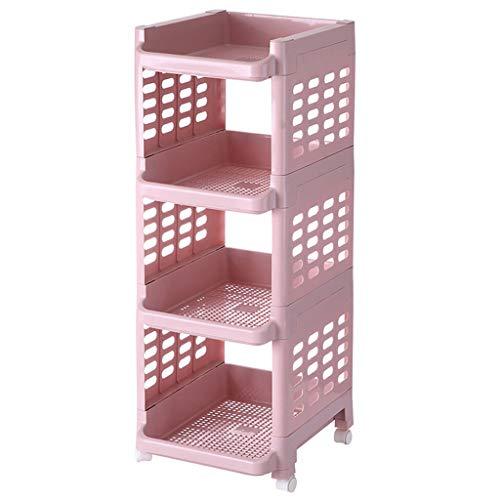 Küchenwagen QIQIDEDIAN Mehrschicht-Lagerregal-Restaurant-Gestell-Speicher-Gemüse-Ablagekorb Abnehmbar (Color : Pink)
