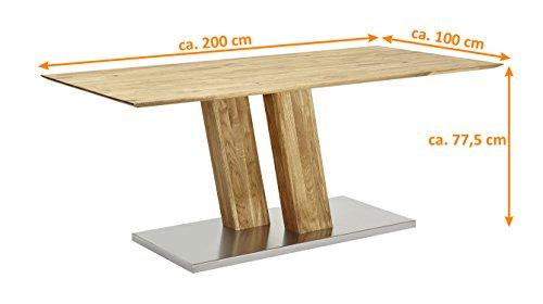 SAM® Design-Holztisch aus Wildeiche, Esstisch geölt, mit Schweizer Kante, massiver Tisch, Edelstahl-Fuß, individuelles Unikat, 200 x 100 cm [522109]