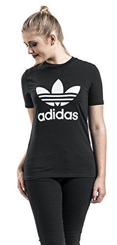adidas Damen Sporthemd Trefoil Tee Schwarz