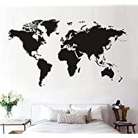 Suwhao World Map Wall Sticker Black Printed Bedroom Decorative Removable Adhesive Vinyl Wall Decal Home Decor 59Cm X 33Cm
