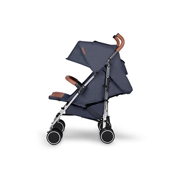 Ickle Bubba Baby Strollers   Lightweight Stroller Pushchair   Compact Fold Technology for Easy Transport and Storage   UPF 50+ Extendable Hood and Rain Cover   Discovery, Denim Blue/Silver Ickle Bubba ONE-HANDED 3 POSITION SEAT RECLINE: Baby stroller suitable from birth to 20kg-approx. 4 years old; features rain cover UPF 50+ RATED ADJUSTABLE HOOD: Includes a peekaboo window to keep an eye on the little one; extendable hood-UPF rated-to protect against the sun's harmful rays and inclement weather LIGHTWEIGHT DESIGN WITH COMPACT FOLD TECHNOLOGY: Easy to transport, aluminum frame is lightweight and portable-weighs only 7kg; folds compact for storage in small places; carry strap and leather shoulder pad included 5