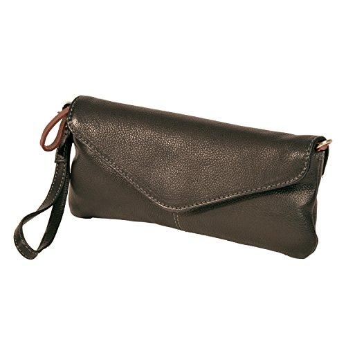 Clutch/MINI-bag in grasso quaie naturalmente e completamente in pelle di bovino di Shalimar Nero (nero)