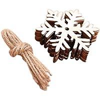 Doitsa 10pcs Colgante decoración de Techo, árbol de Navidad árbol de Navidad, Madera artesanía Bricolaje Cuerda, Madera, Flocon de Neige, 7 * 7cm