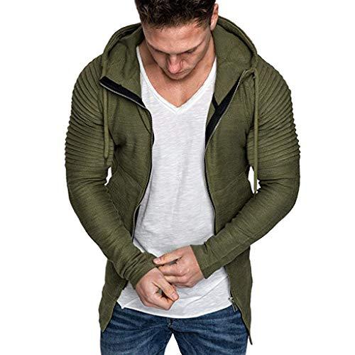 Xmiral Herren Sweatshirt Top Herbst Langarm Plaid Hoodie Mit Kapuze T-Shirt Outwear Streetwear Kapuzenpullover Outdoor Sportbekleidung(Z Grün,M) -