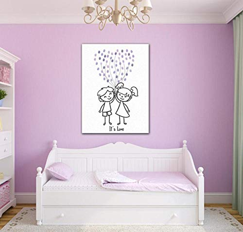 Yqgdss Love Cartoon Couple Balloon DIY Sign In Fingerprint Painting Living Room Sofa Background Decoration Finger Painting Hanging Mural Child Gift,Purple