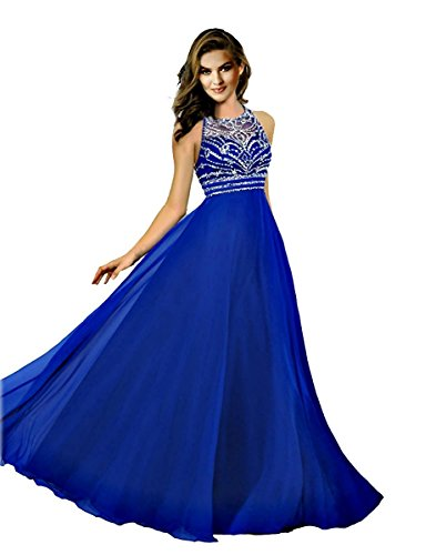 HotGirls lange prom Kleider Chiffon Perlen jeweled Abendkleider Brautjungfer Kleid (46, Royal Blau) (Jeweled Kleid Chiffon)