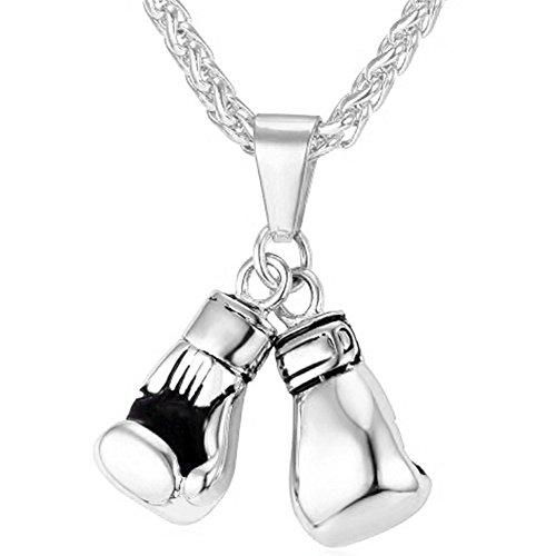 MESE London Boxhandschuh-Halskette Edelstahl-Kette Männer Silber Anhänger  Elegante Geschenkbox