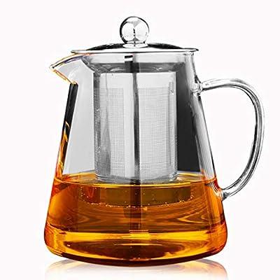 Théières Théière en verre clair avec tamis et couvercle pour infuseur en acier inoxydable 304 pour thé en vrac, verre borosilicate - 950ML