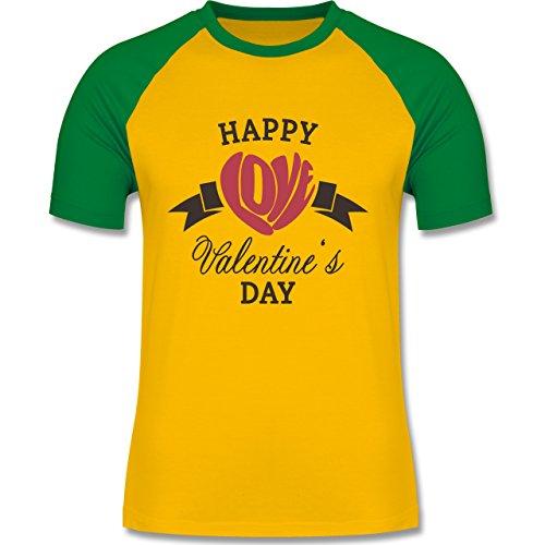 Valentinstag - Happy Valentine's Day Herz Love Typographie - zweifarbiges Baseballshirt für Männer Gelb/Grün