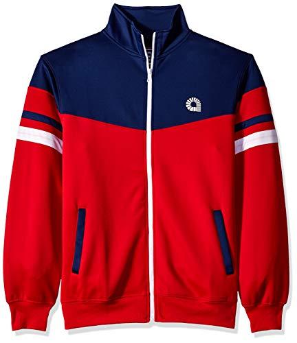 Akademiks Herren Long Sleeve Zip- up Mock Turtleneck Sweatshirt, Broadway Red, X-Groß - Red Mock Turtleneck Pullover