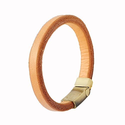 SNHWARE Bracelet Neue Armband Legierung Magnet Schnalle Retro Rindleder Armband Männer Armband,Brown (Rindleder Schnalle)