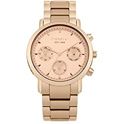 Fiorelli Women's Quartz Watch with Rose Gold Dial Analogue Display and Rose Gold Alloy Bracelet FO029RGM