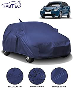 Fabtec Waterproof Car Body Cover for Maruti Baleno (2015-2019) with Mirror Antenna Pocket (Full Sized, Triple Stitched, Fully Elastic) (Navy Blue)