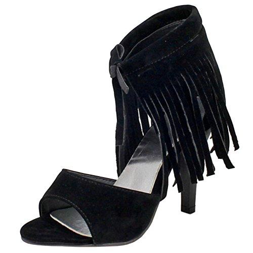 TAOFFEN Femmes Peep Toe Lacets Bottillons Sandales Aiguille Talons Hauts Chaussures De La Franse Noir