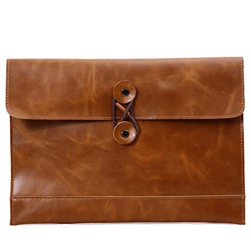 Leathario cartella portadocumenti portabile cartellina in pelle di crazy horse business file organizer 10'' borsa messenger a mano (marrone)