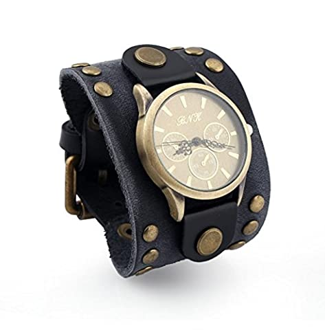 Wangjianfeng Punk vintage men's leather bracelet, watch , black