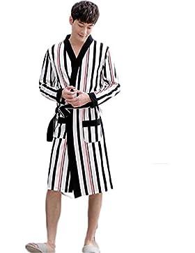 DAFREW Albornoz de los hombres espesa la túnica pijamas de algodón otoñales Ropa de manga larga rayas clásicas