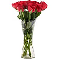 Floral Fantasy Fresh Flower Bouquet (Bunch Of 10 Red Roses in Glass Vase)