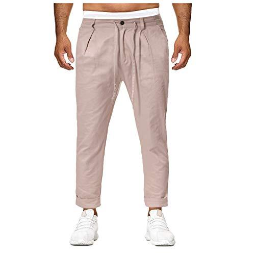 Zolimx Männer Casual Plaid Pocket Rope Sporthosen, Beiläufige feste lose Knopf-Farbe der Art- und Weisemänner Sweatpant Hosen-Rüttler-Hose -