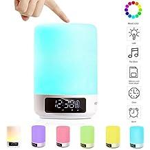 Keynice Lampada da comodino Sensore Touch + luce multicolore dimmerabile notte e Bluetooth Speaker orologio con sveglia ingress per TF Card vivavoce e funzioni di temporizzazione - Bianco