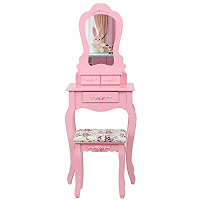 Songmics Pink Pretty Rose Wall-fixed Dressing Table in Baroque Style with Mirror Stool, 3 Drawers with 2 Dividers RDT30P - cheap UK light store.