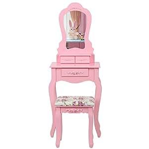 Songmics Coiffeuse/ Table de Maquillage Rose Style Baroque avec 3 Tiroirs 1 Miroir 1 Tabouret RDT30P