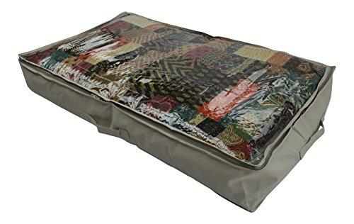 Große 90Liter schwere Unterbettkommode Tasche für Bettdecken, Decken, Handtücher, Bettwäsche und Kleidung–Robuste Oxford Leinwand Typ beige Material (600D) mit transparentem PVC-Deckel–60x 15x 100Zentimeter–von Brilliant Füße