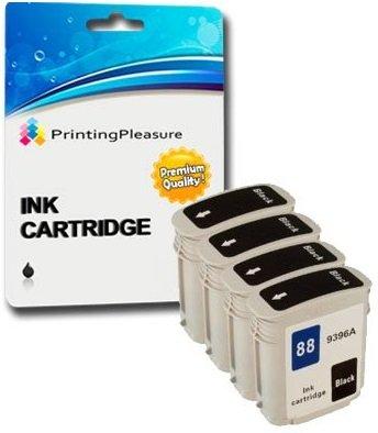 PRINTING PLEASURE 4 XL SCHWARZ Druckerpatronen für HP Officejet Pro K5400, K5400dn, K5400dtn, K5400n, K8600, K8600dn, K550, K550dtn, K550dtwn, K5300, L7000, L7400, L7480, L7500, L7550, L7580, L7588, L7590, L7600, L7650, L7680, L7681, L7700, L7710, L7750, L7750, L7780, L7880 | kompatibel zu HP 88XL Hp Officejet Pro K5400 Tinte