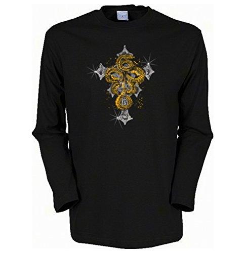 Herren Langarm-Shirt ::: Cross with Snake ::: für Gothic Fans Schwarz