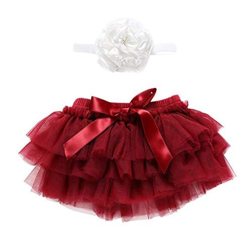 Bobopai Baby Girls Tutu Skirts, Newborn Infant Kids Baby Girl Bowknot Tulle Tutu Skirts+Headband Outfits Clothes (Wine)