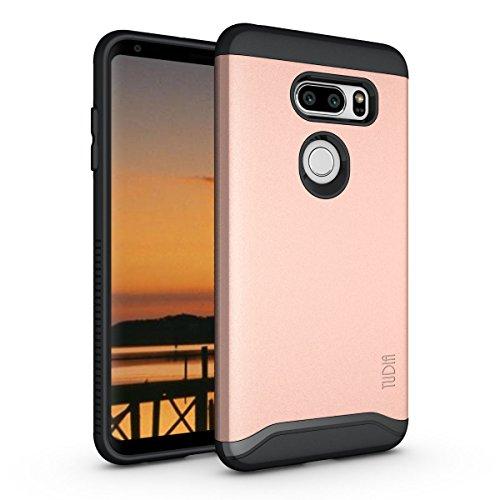 TUDIA LG V35 ThinQ Hülle, Slim-Fit Merge Dual Layer Schutzhülle für LG V35 ThinQ (Rose Gold)