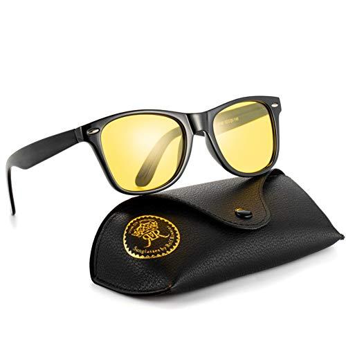 Rocf Rossini Polarisiert Herren Sonnenbrille für Damen klassisch Retro Sonnenbrillen Männer und Frauen Vintage Anti Reflexion UV400 Schutz - Unisex (Schwarz/Gelb)