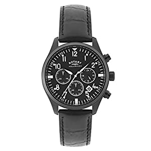 Rotary Men's Quartz Watch with Black Dial Analogue Display and Black Leather Strap GS00110/04