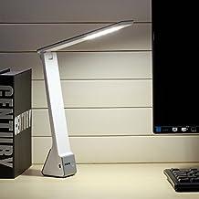 Lámpara de Escritorio LED, AVAWAY USB Recargable Lámpara de Mesa , Wireless Lámpara Táctil con 3 Modos de Iluminación para la Oficina, Dormitorio, Sala de estar, Viaje (Plata, 1200mAh)