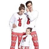 Riou Weihnachten Baby Kleidung Set Kinder Pullover Pyjama Outfits Set Familie Frauen Mom Santa Deer Tops Bluse Hosen Familie Pyjamas Nachtwäsche Set (L, Mom)