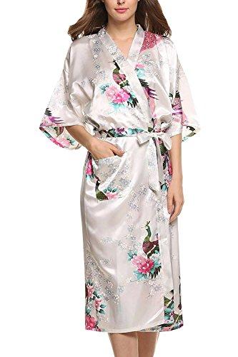 Preisvergleich Produktbild Dolamen Damen Morgenmantel Kimono,  glatte Satin Nachtwäsche Bademantel Robe mit Peacock und Blume Kimono Negligee Seidenrobe locker Schlafanzug,  Langer Stil (XXX-Large,  Weiß)
