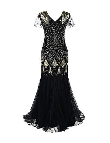 besbomig Damen 1920er Jahre Pailletten Maxi Abendkleid mit Ärmel -Bodenlänge V-Ausschnitt Tüll-Spitze Formal Gown Kleid