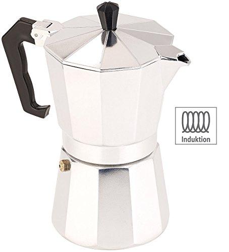 Cucina di Modena Kaffeekocher: Espressokocher für 6 Tassen, für Induktions-Herde geeignet, 300 ml (Espresso-Kocher)