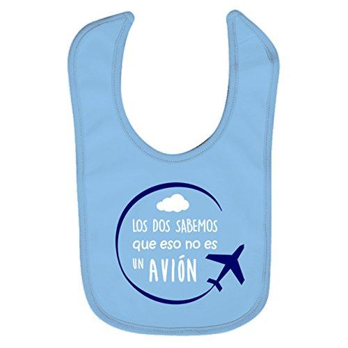 Babero bebé niño y niña Avión. Regalo original. Babero bebé divertido. Los/las dos sabemos que eso no es un avión. (azul)