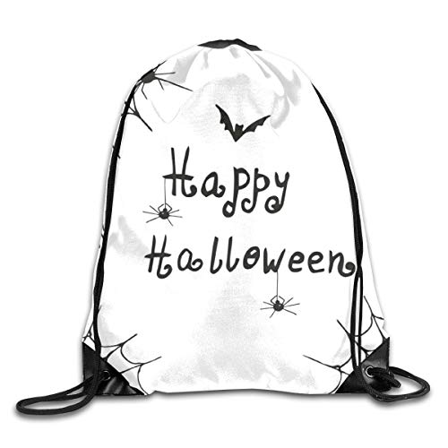 EELKKO Drawstring Backpack Gym Bags Storage Backpack, Happy Halloween Celebration Monochrome Hand Drawn Style Creepy Doodle Artwork,Deluxe Bundle Backpack Outdoor Sports Portable Daypack