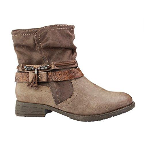Jana-25412-Femme Courte Bottes-Gris Chaussures en H Largeur de la tige Gris