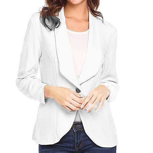 STRIR-Ropa Blazer Elegante Oficina Traje de Chaqueta Outwear Casual para Mujer S Blanco#0130